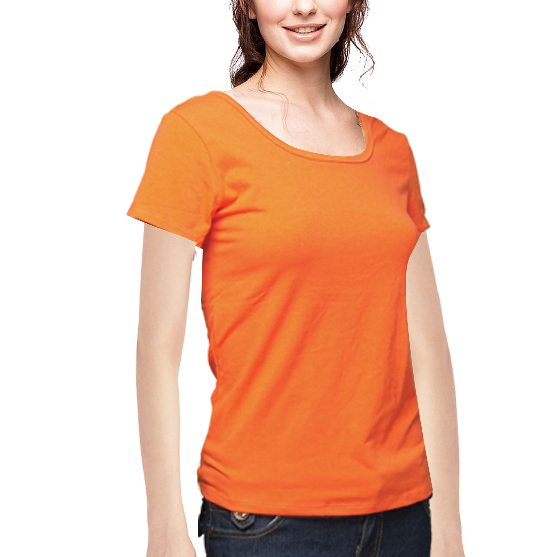 Women Stretchy Short Sleeves U Neck Shirt Top