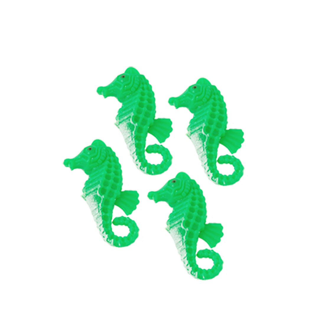 4 Pcs Green White Plastic Sea Horse Decoration for Aquarium Fish Tank
