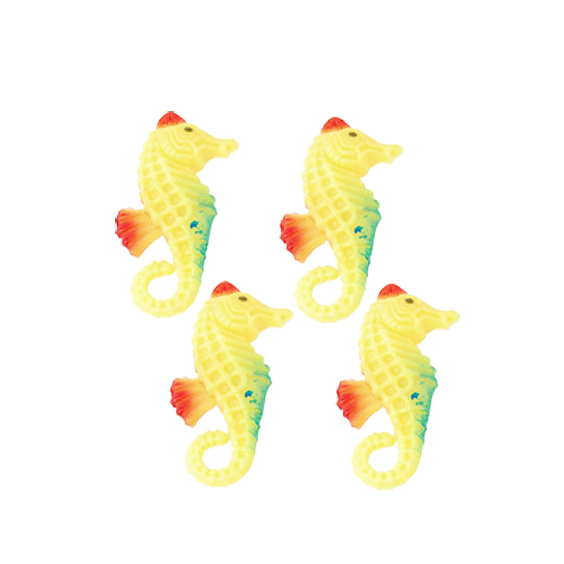 4 Pcs Plastic Fake Hippocampi Ornament Yellow for Aquarium Fish Tank