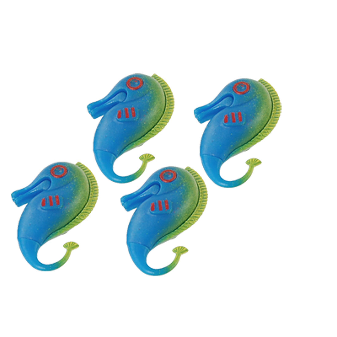 4 Pcs Aquarium Fish Tank Green Back Blue Plastic Hippocampi Decoration