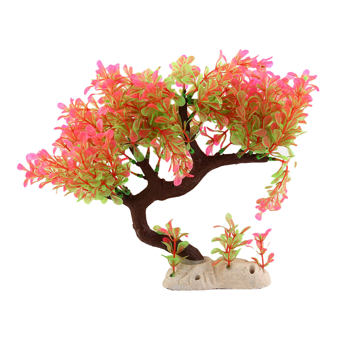 Fuchsia Green Leaves Bent Tree Trunk Plastic Plant for Fish Tank