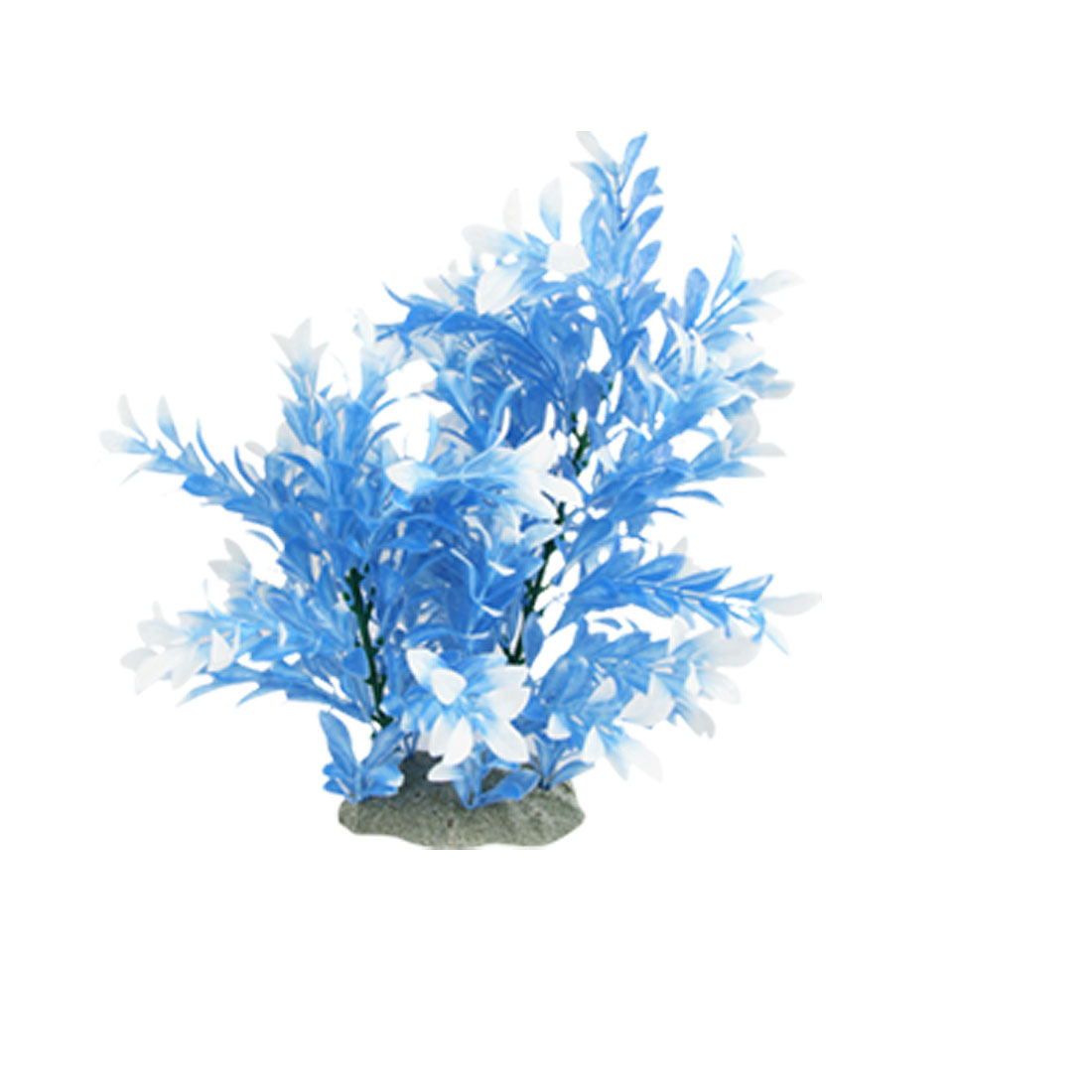 "11.8"" High Plastic Plant Aquascaping Blue White for Fish Tank"