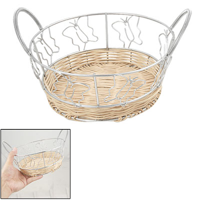 Butterfly Shape Side Willow Chrome Handmade Round Storage Basket