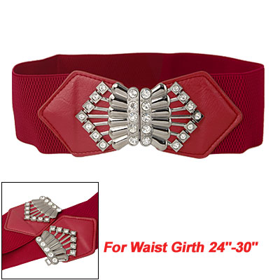 Ladies Rhinestone Inlaid Metal Buckle Red Elastic Belt