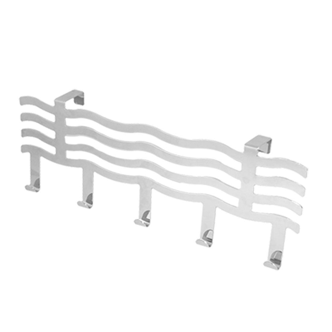 Bathroom Wave Shape Iron Silver Tone Towel Over Door Hook