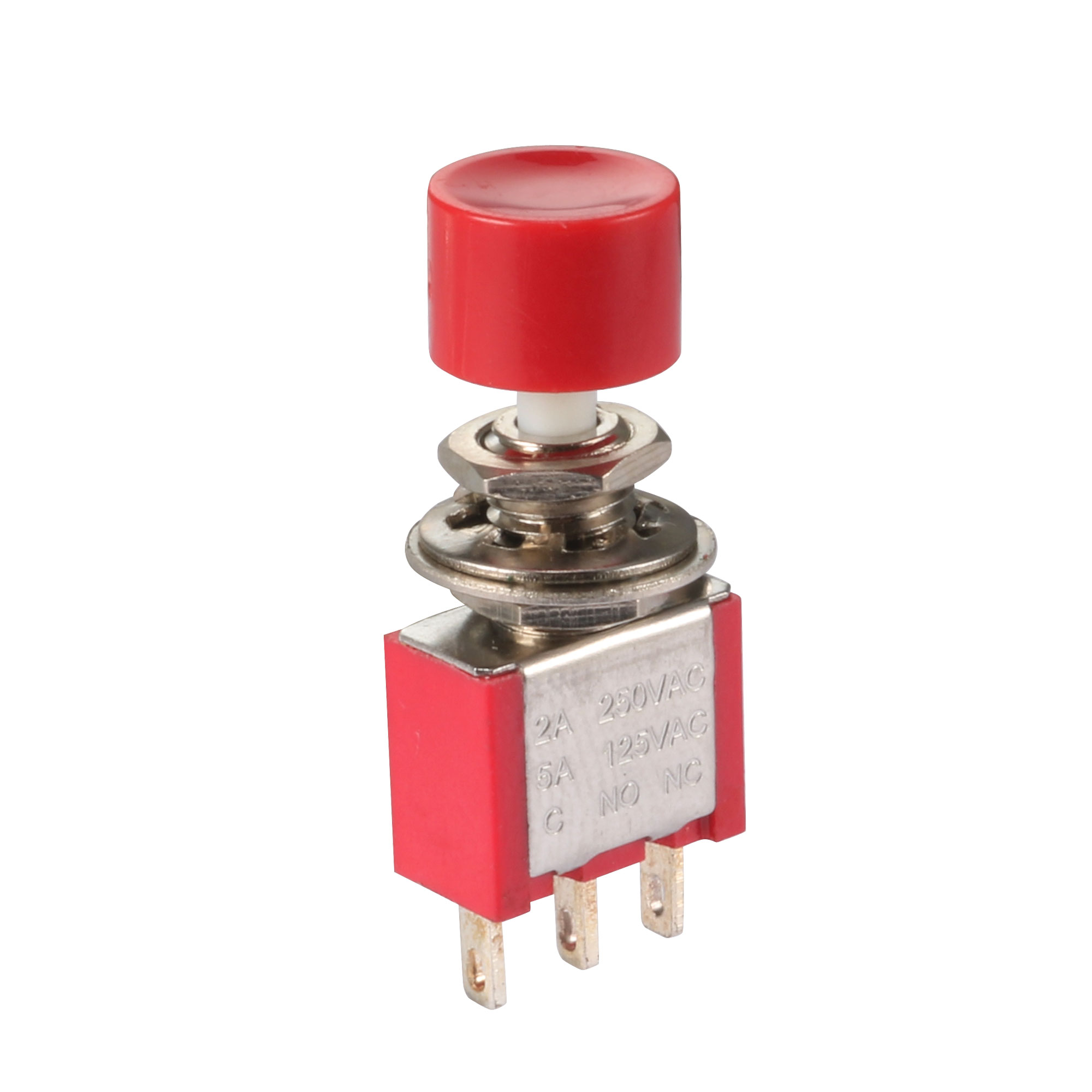 AC 2A/250V 5A/120V 3 Pin SPDT Momentary Push Button Pushbutton Switch 1 NO 1 NC