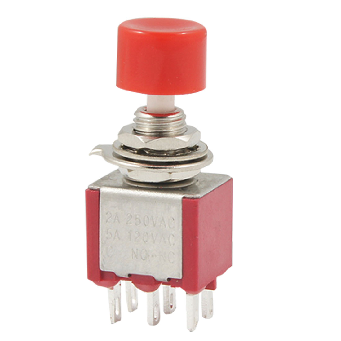 AC 2A/250V 5A/120V 6 Pin DPDT Momentary Push Button Pushbutton Switch 2 NO 2 NC