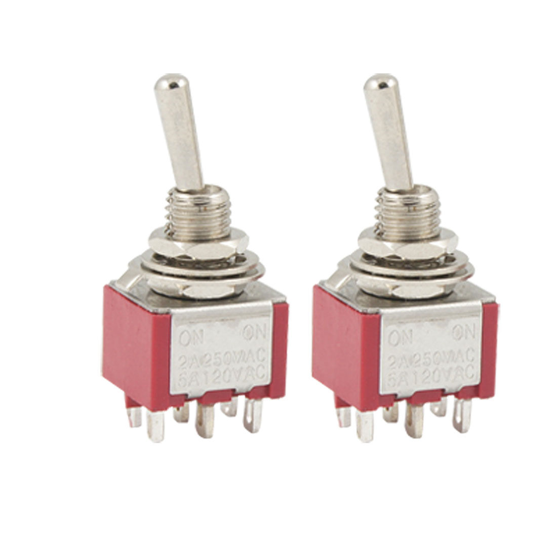2 Pcs ON/ON 2 Position Double Pole Double Throw Toggle Switch
