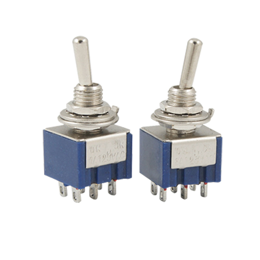 2 Pcs AC 125V 6A Blue Mini DPDT ON/ON Toggle Switchs w 6 Terminals