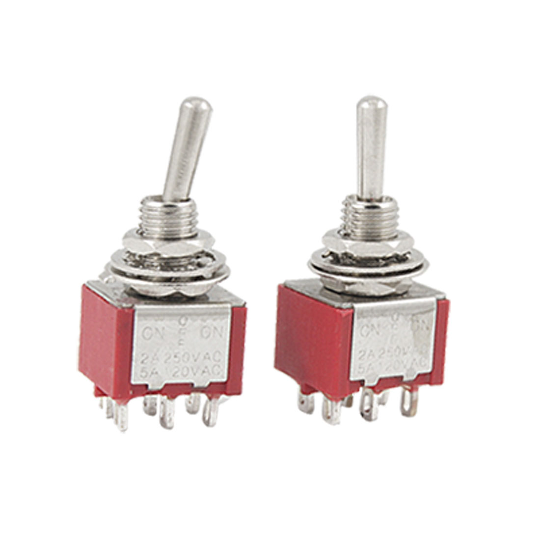 2 Pcs AC 120V/5A 250V/2A 3 Position ON-OFF-ON DPDT Toggle Switches Red