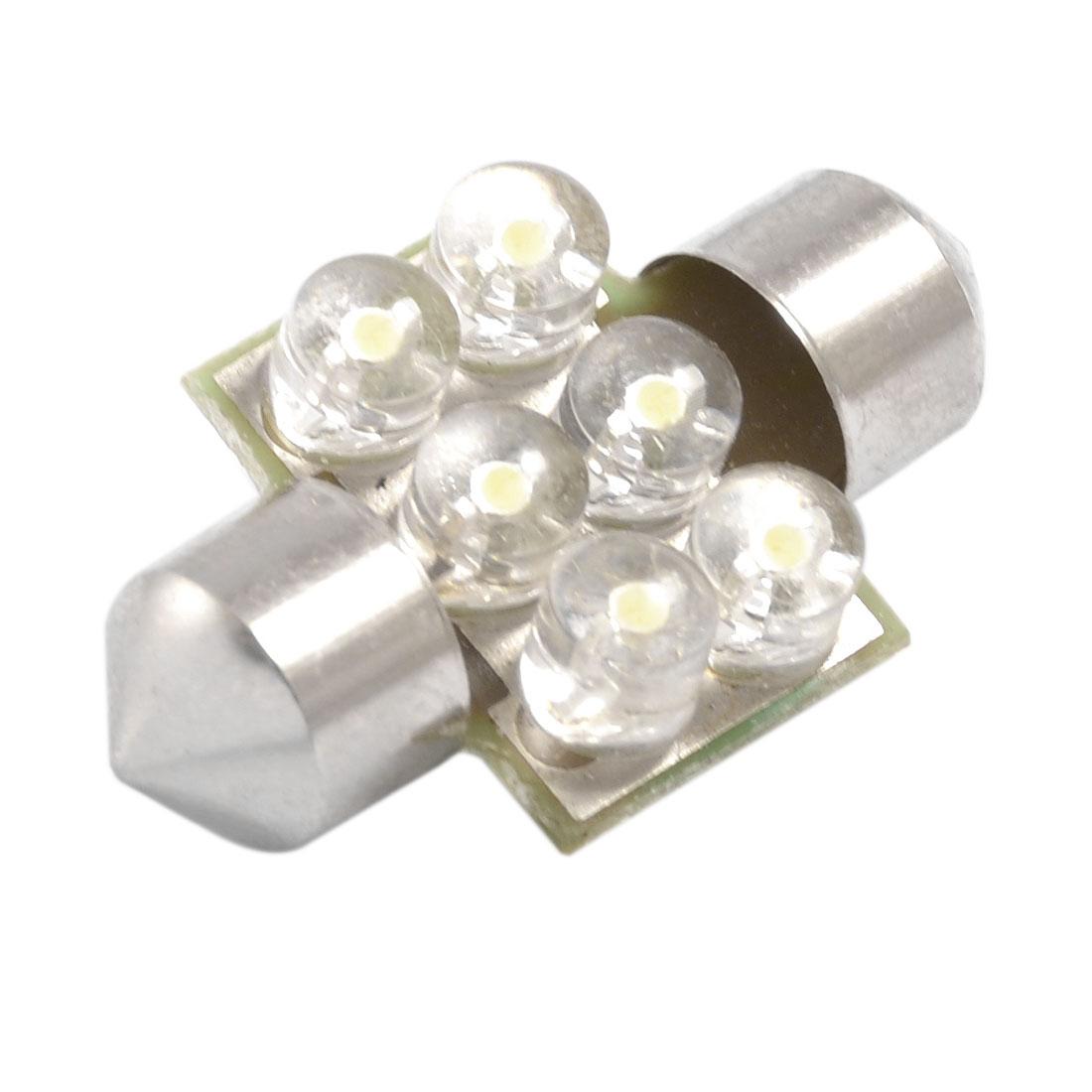 Car 31mm White 6 LED Festoon Dome Light Lamp DE3175 DE3022 LED Bulbs