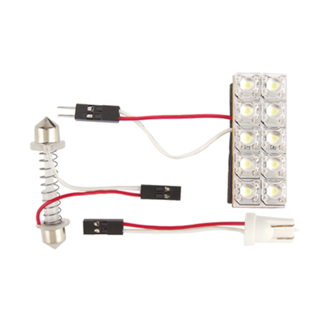 Car White Dome Map Interior 10 SMD LED Light Panel T10 Festoon Adapter