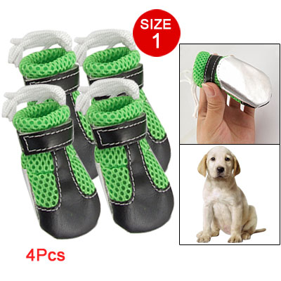 Pet Doggy Size 1 Mesh Drawstring Top Green Black Shoes