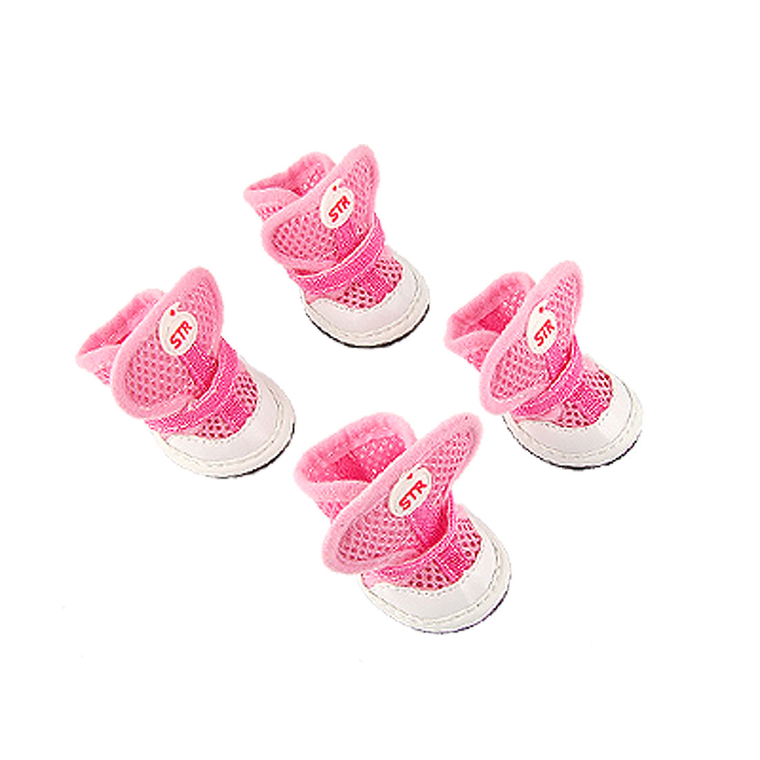 Dog Antislip Rubber Sole Adjustable Strap Air Mesh Pink Shoes 1
