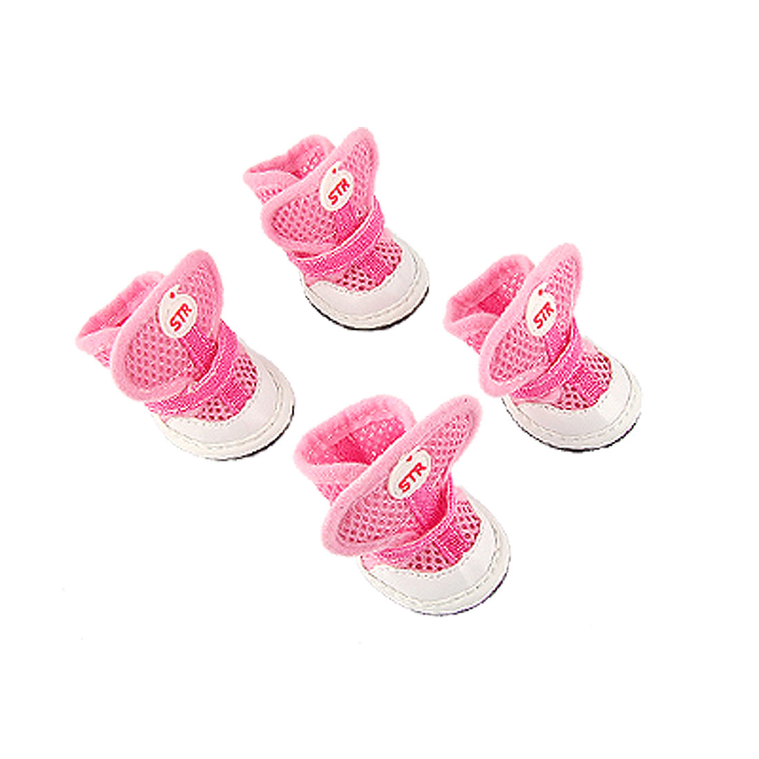Dog Paw Adjustable Loop Fastener Antislip Sole Air Mesh Shoes Pink 4