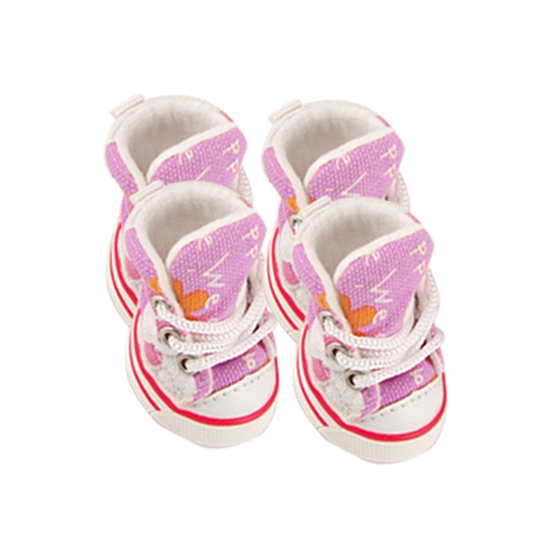 4 Pcs Flower Lettern Printed Pet Dog Canvas Boot Pink Sneakers Size 5