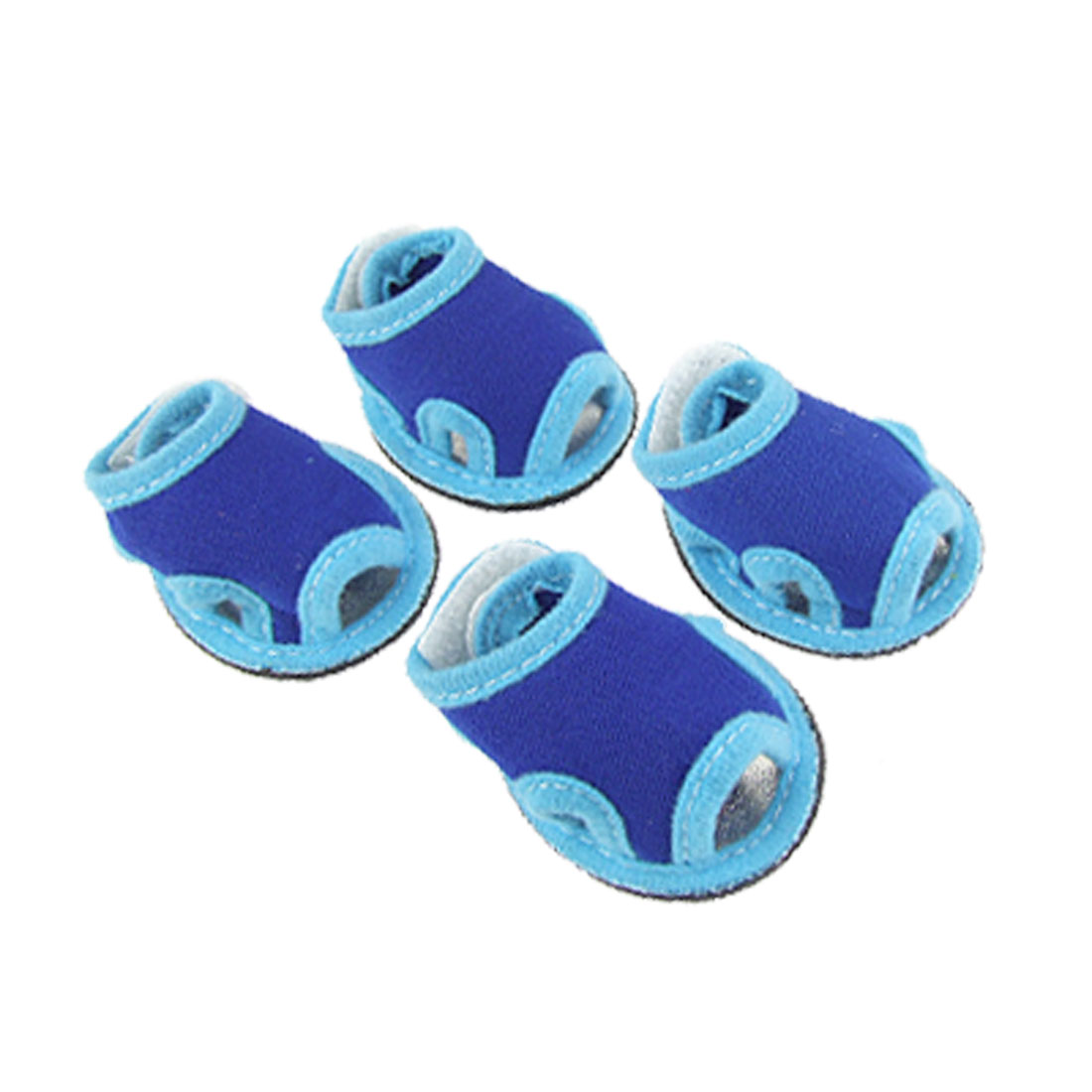 4 Pcs Pet Doggie Detachable Closure Sandals Shoes Blue Size 1