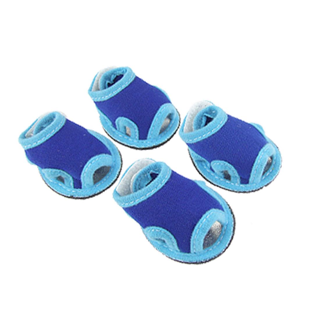 4 Pcs Pet Dog Nonslip Soles Skyblue Navy Blue Open Toe Sandals Shoes Size 2