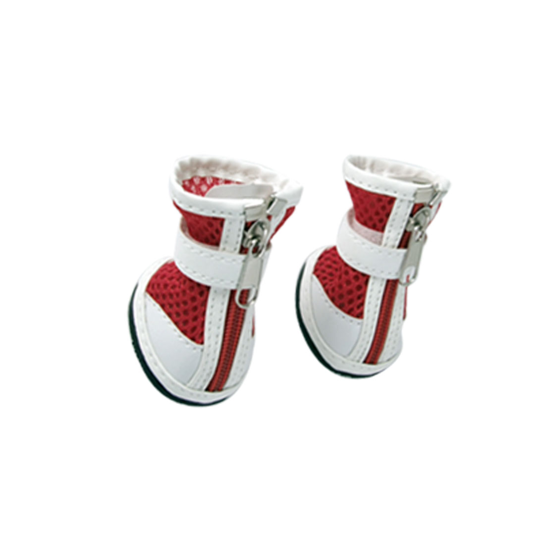 Size 1 Puppy Dog Detachable Zippered Meshy Boots Red White Shoes