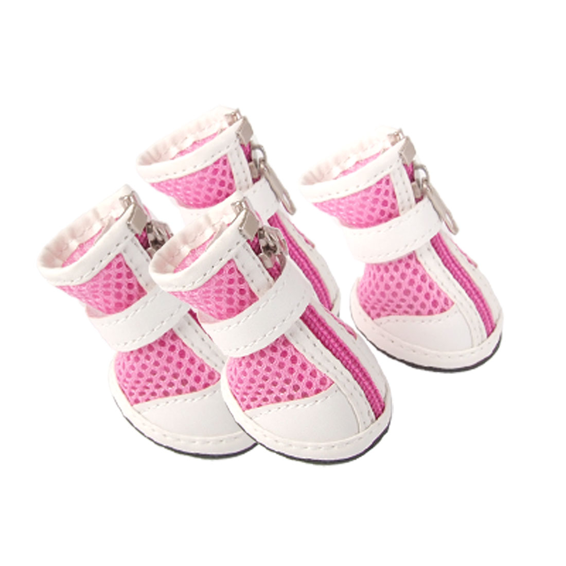 Breathable Mesh Pet Puppy Dog Shoes Boots Pink White Size 2