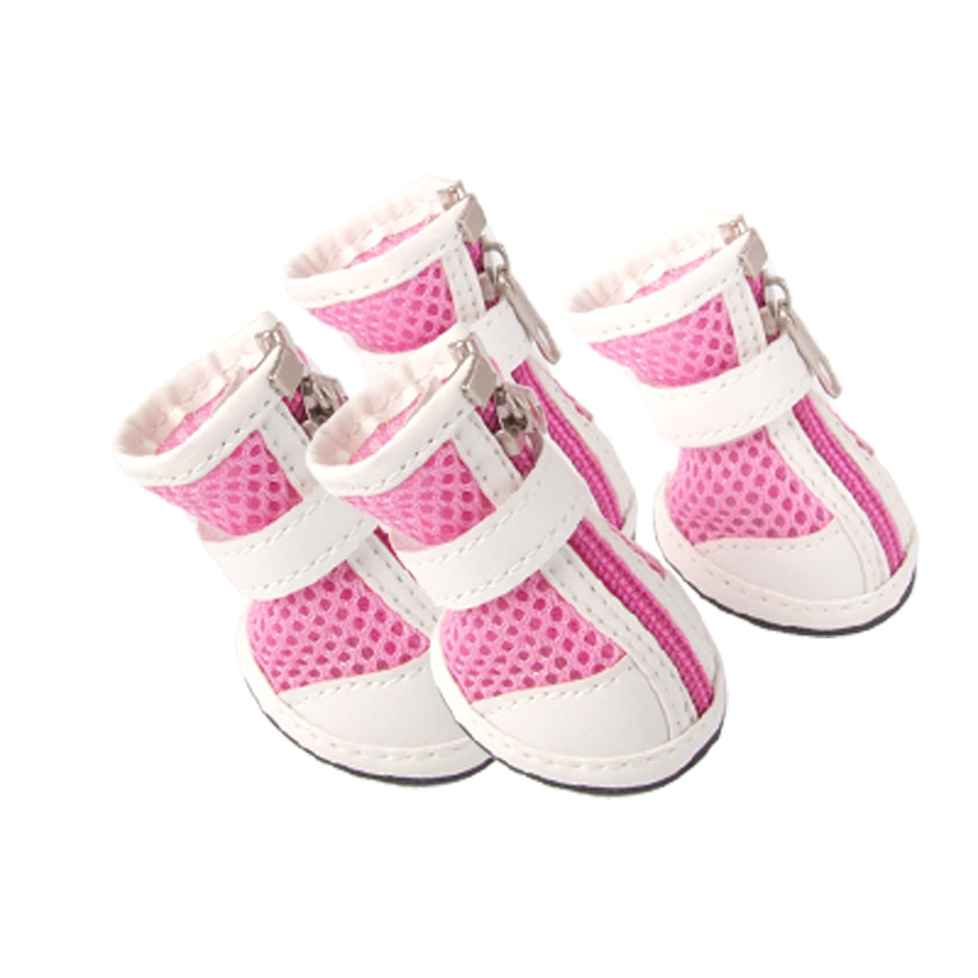 Size 3 Nonslip Rubber Outsole Mesh Boots Dog Shoes Pink White