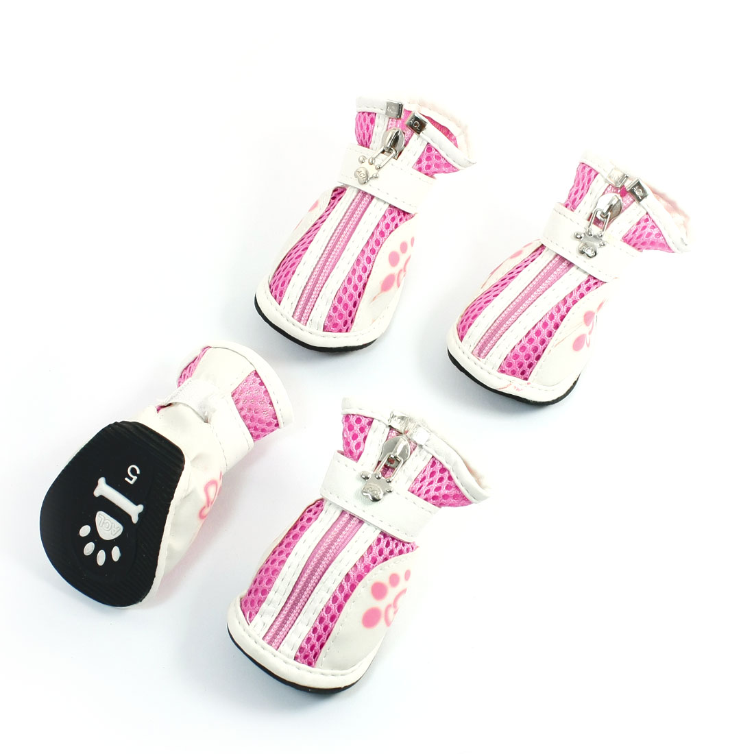 Nonslip Outsole Pink White Detachable Mesh Pet Dog Shoes Boots Size 5