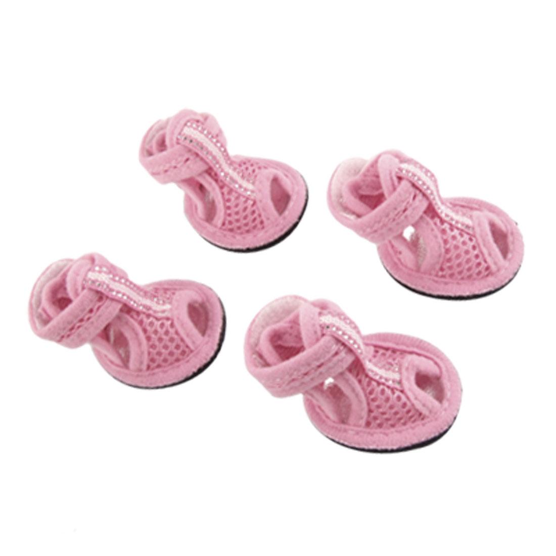 4 Pcs Pet Dog Detachable Closure Pink Mesh Shoes Nonslip Sandals Size 2