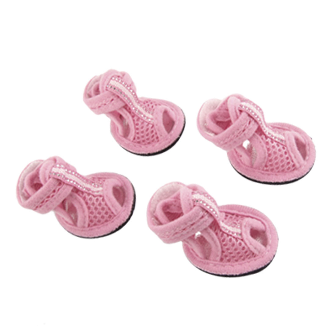 2 Pairs Open Toe Style Nonslip Soles Sandals Pink Mesh Dog Shoes Size 5