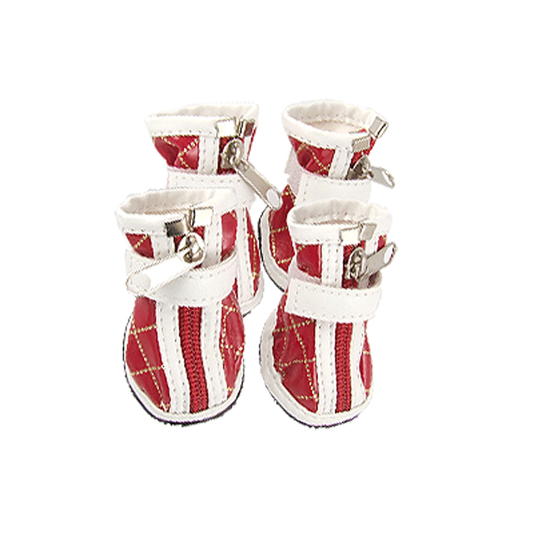 4 PcsDog Nonslip Sole Zipped Faux Leather Boots Red White Size 1