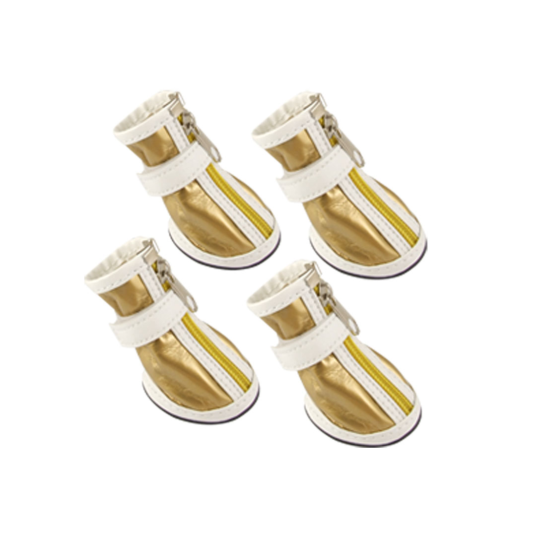 Size 2 Pet Puppy Gold Tone White Faux Leather Boot Nonslip Shoes