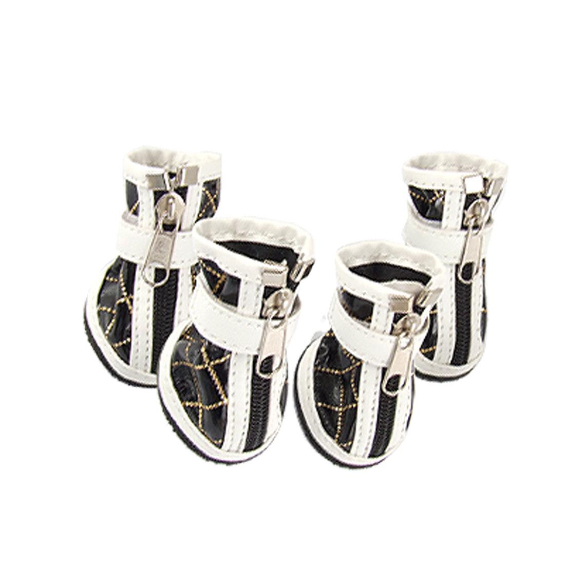 Size 4 Pet Dog Nonslip Rubber Sole Black White Faux Leather Zipped Boots 4 Pcs