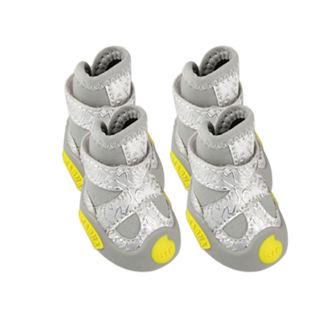 Pet 2 Pair Detachable Closed Warm Sponge Filled Gray Shoes Size 4