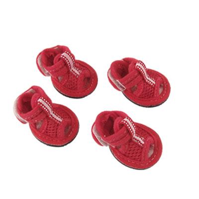 4 Pcs Detachable Closure Red Mesh Shoes Open Toe Design Dog Sandals Size 2