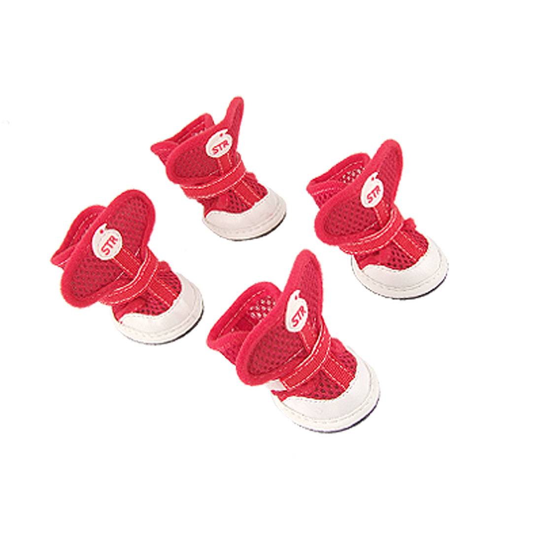 Nonslip Rubber Sole Adjustable Air Mesh RedShoes for Dog 1