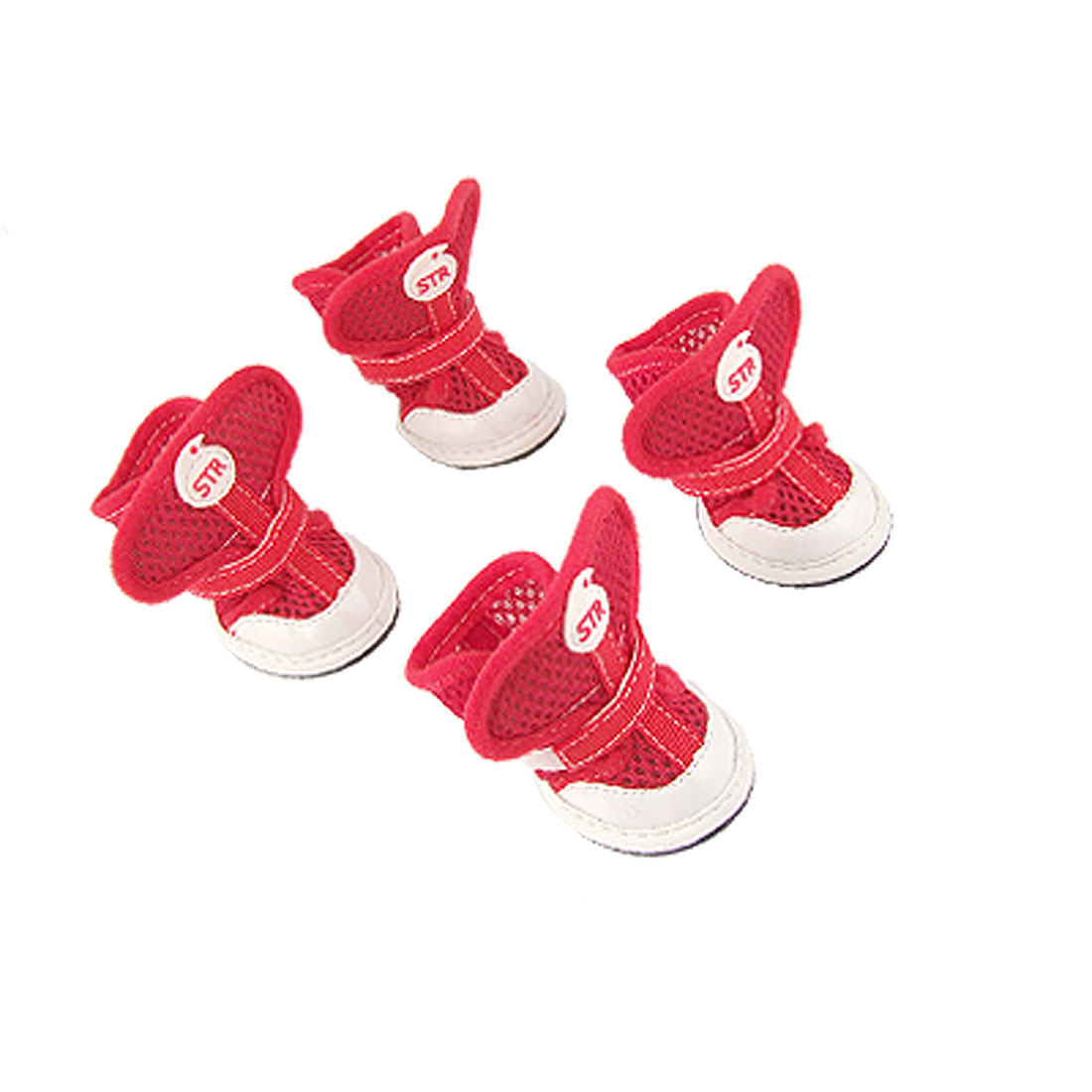 Adjustable Fastener Nonslip Rubber Sole Red Air Mesh Shoes for Dog 2