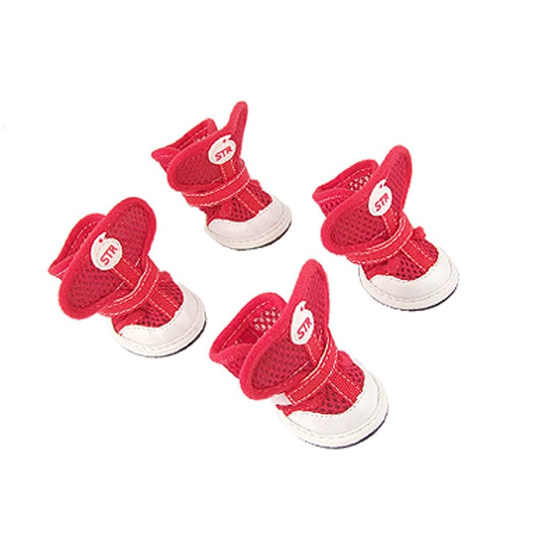 Pet Dog Nonslip Sole Hook Loop Fastener Air Mesh Shoes Red Footwear 4