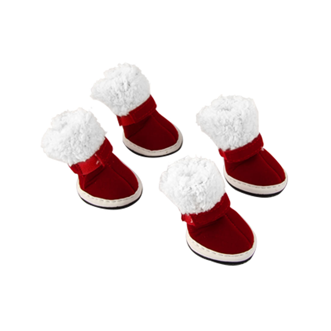 Pet Antislip Rubber Sole Red White Christmas Style Boots Shoes Size 4
