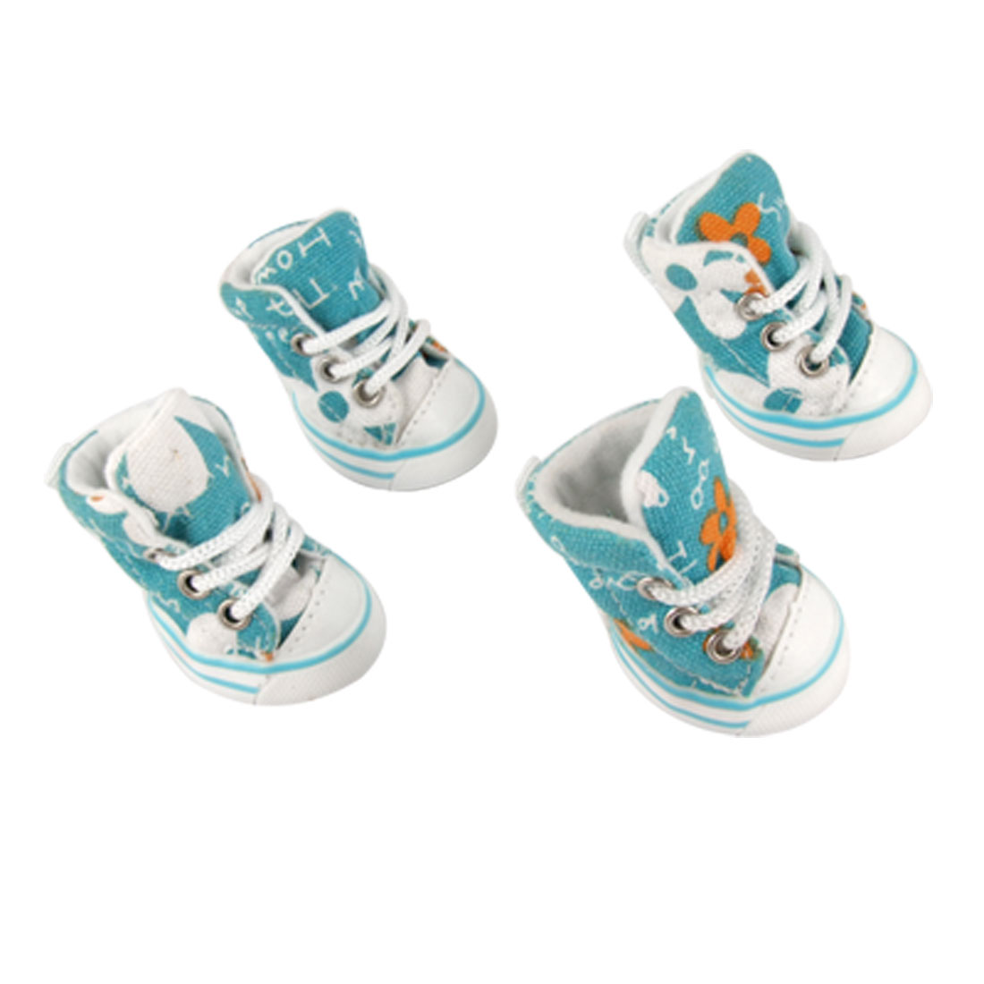 Puppy Anti-slip Rubber Sole Cyan Canvas Sneakers Size 1