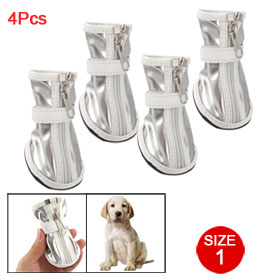 4 Pcs Pet Doggy Nonslip Sole Silver Tone White Faux Leather Boots Size 1