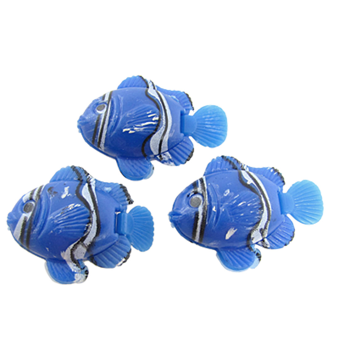 3 Pcs Mini Blue Plastic Floating Tropical Fish Aquarium Ornament
