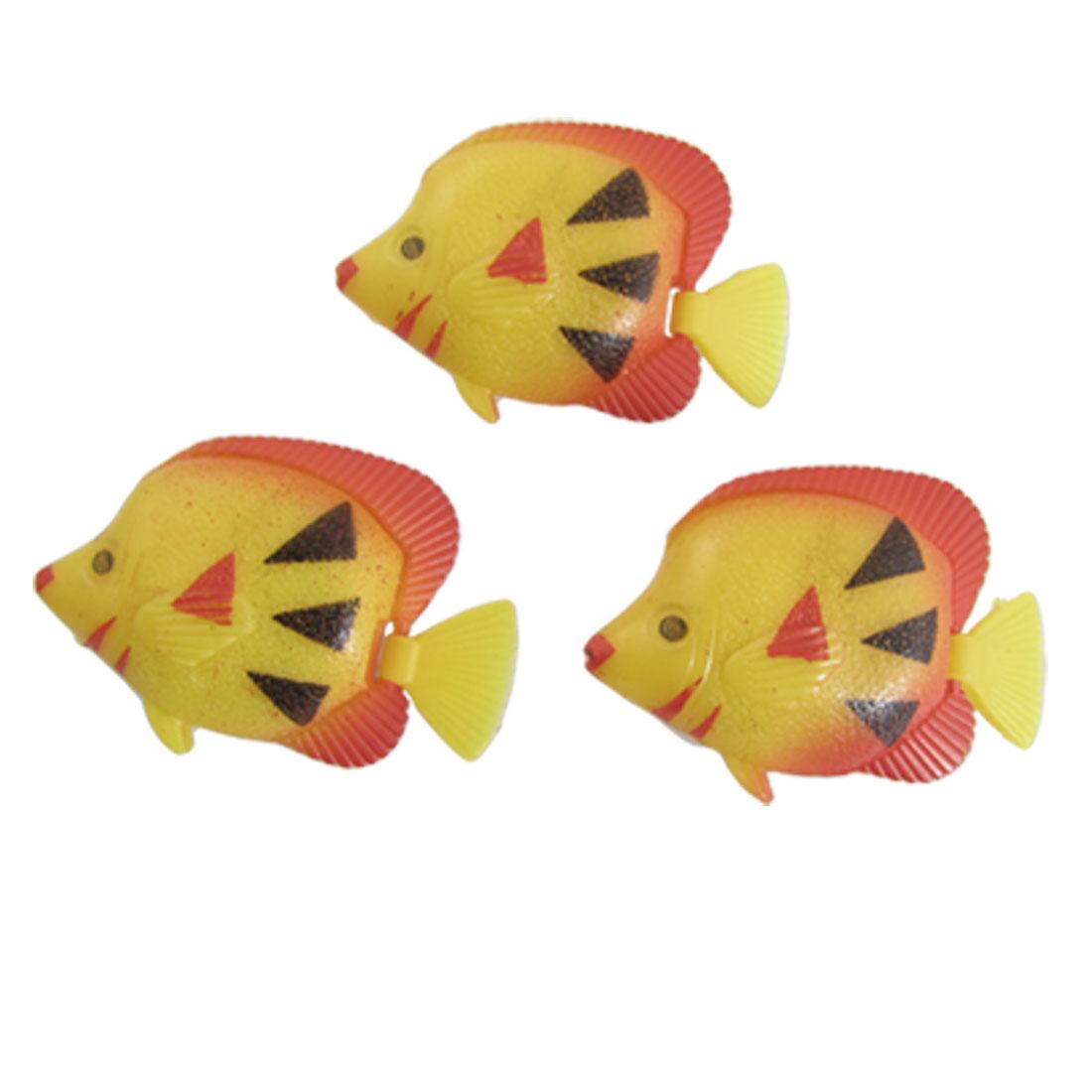 Red Yellow Atificial Ocean Fish Aquarium Tank Ornament 3 Pcs