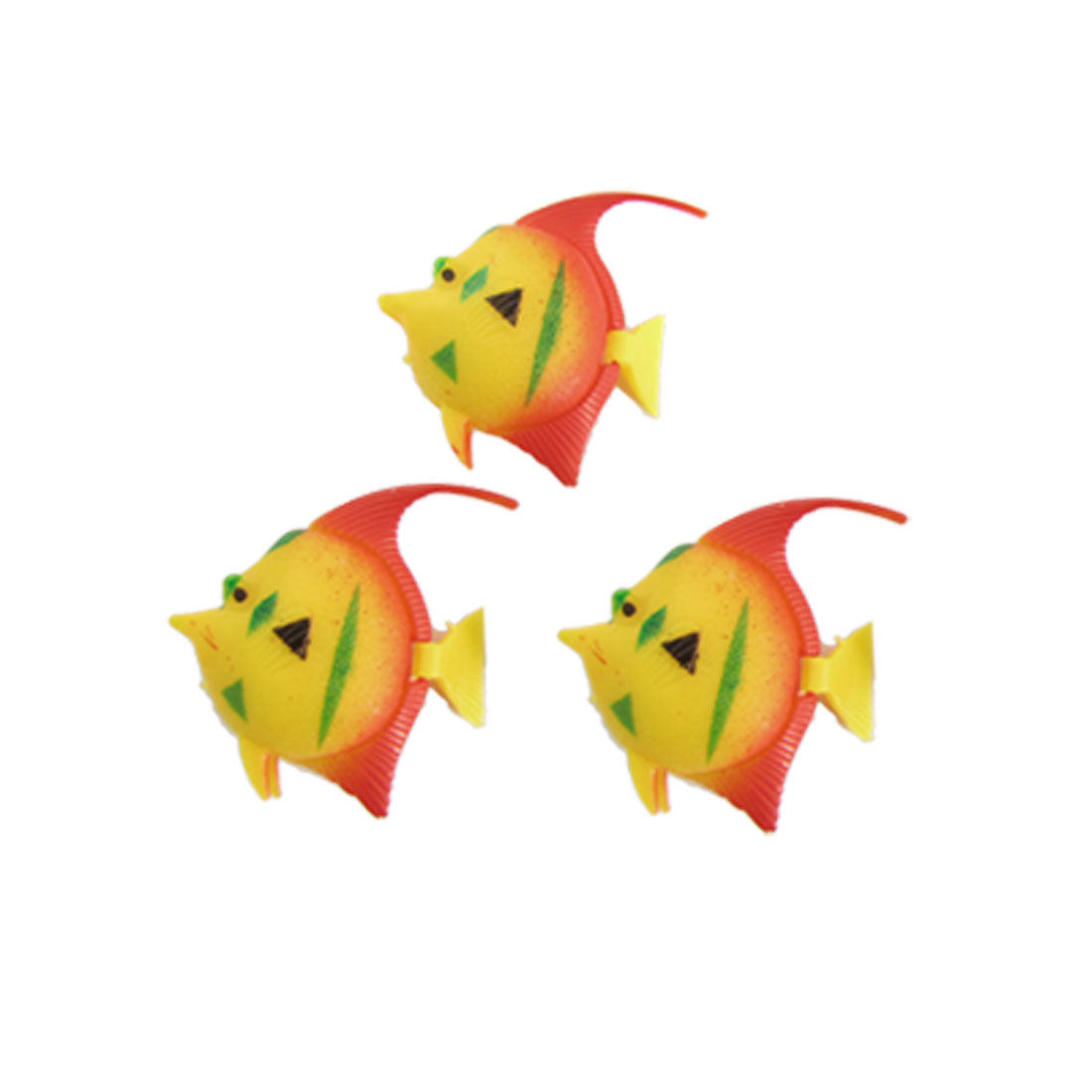 3 Pcs Aquarium Tank Plastic Floating Fish Decoration Yellow Red
