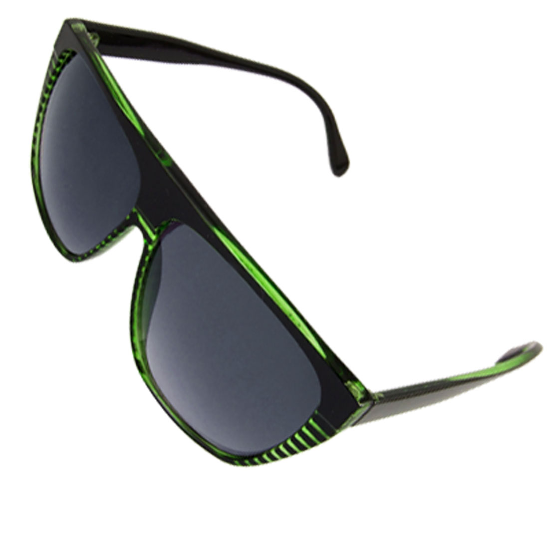 Lady Black Green Striped Full Rim Plastic Arm Eyewear Sunglasses