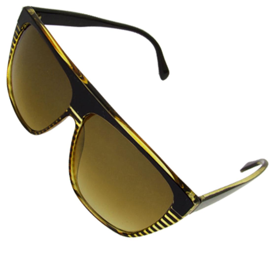 Ladies Yellow Black Rim Oval Lens Plastic Arm Sunglasses