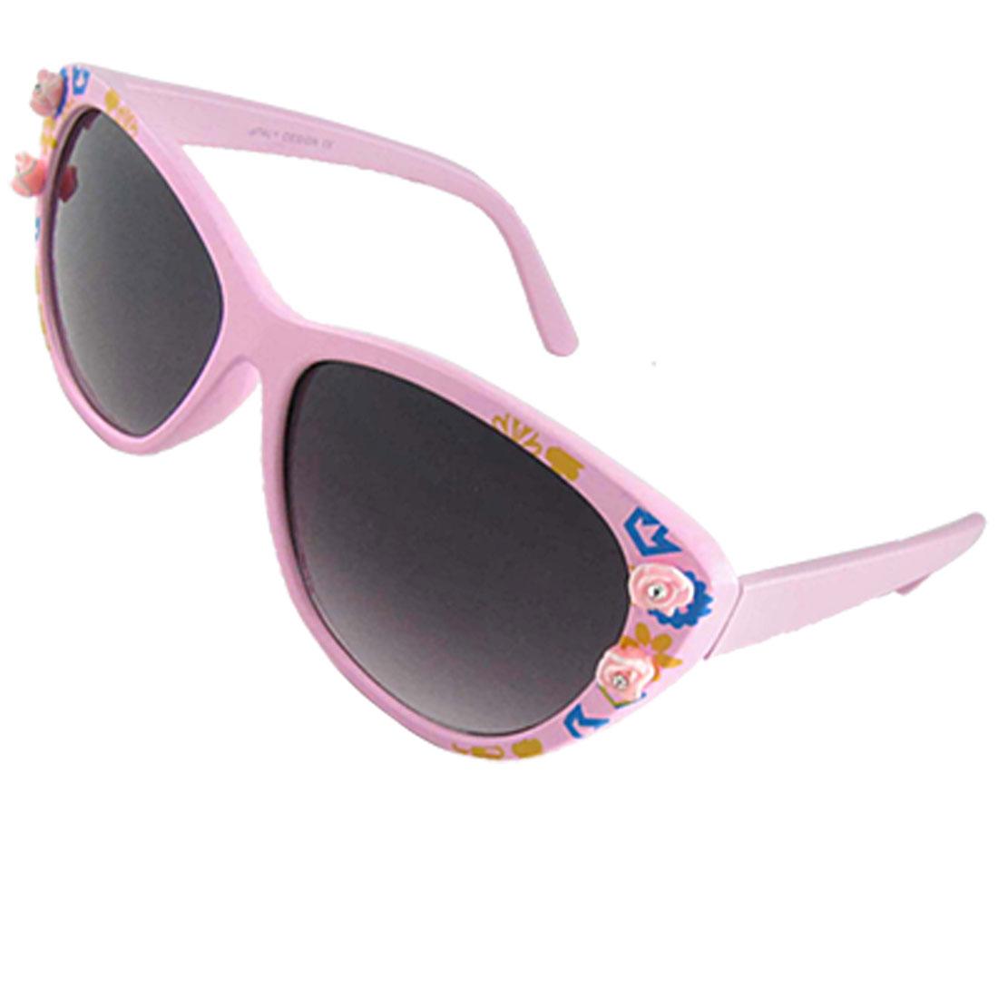 Ladies Crown Flower Detail Pink Plastic Full-Rim Frame Sunglasses