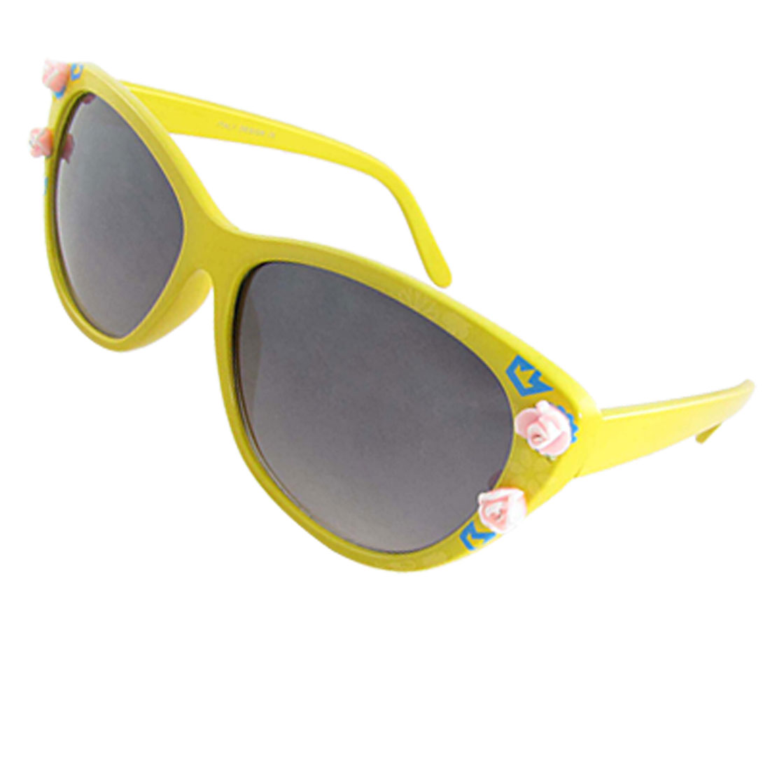 Ladies Flower Decor Yellow Plastic Full Frame Sunglasses