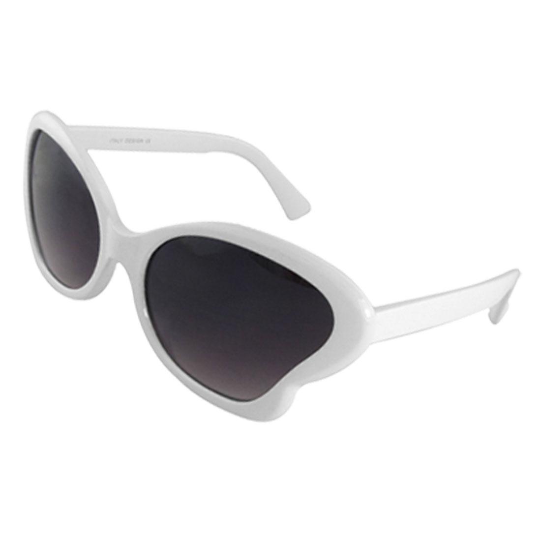Ladies Butterfly Shaped White Plastic Full-Rim Frame Sunglasses