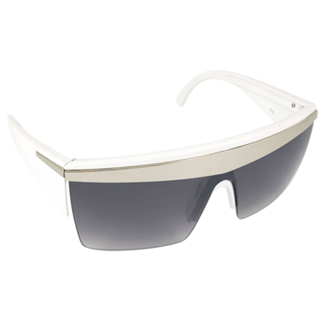Lady Rectangle Lens Metal Decor Rim White Wide Arm Sunglasses