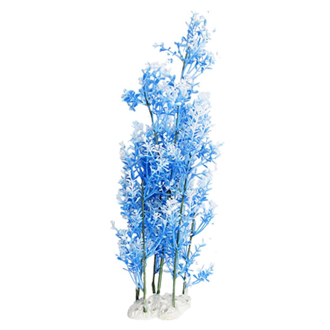 Fish Tank Ceramic Base Plastic Ornament Plant White Blue