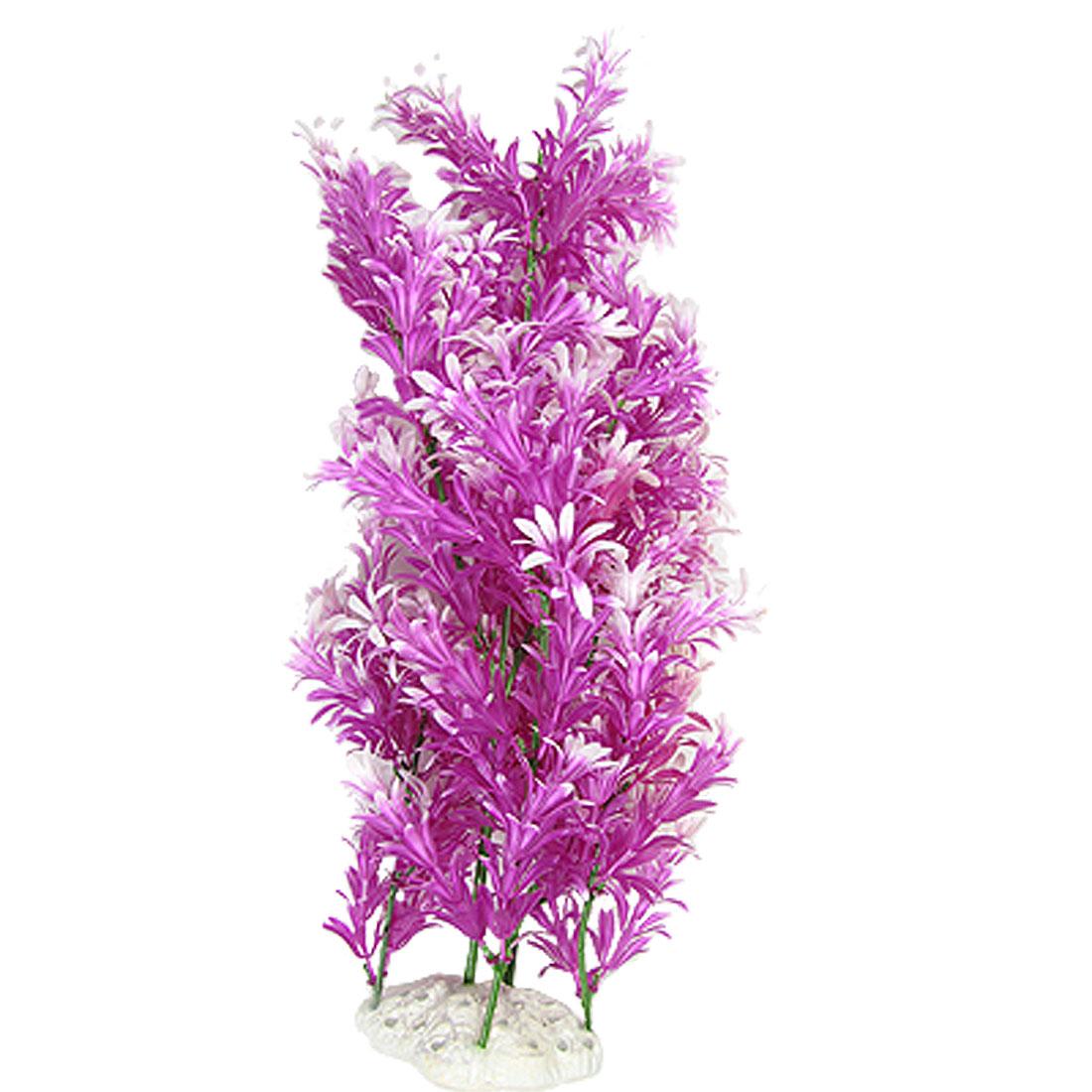 Ceramic Base Plastic Ornament Plant Purple for Fish Tank